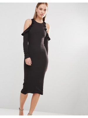 OH MY LOVE cold shoulder midi dress with frill detail