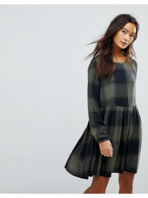 Only Check Dress With Peplum Hem