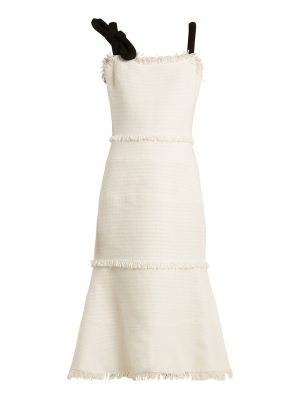 Oscar de la Renta Fringe-trimmed sleeveless tweed dress