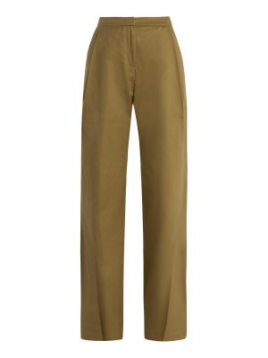 PALMER/HARDING Wide-leg pleated-cuff cotton chino trousers