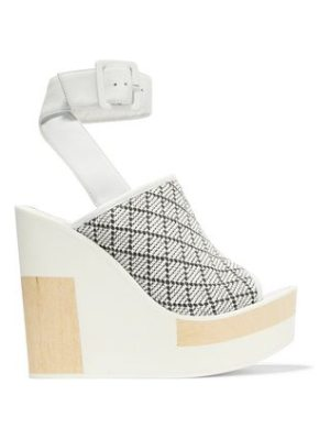 Paloma Barcelo javiera leather and woven canvas wedges