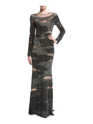 Pamella Roland Brushstroke-Illusion Embroidered Gown