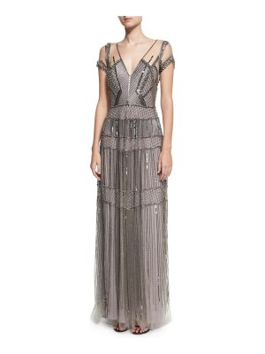 Pamella Roland Crystal Beaded Illusion Evening Gown