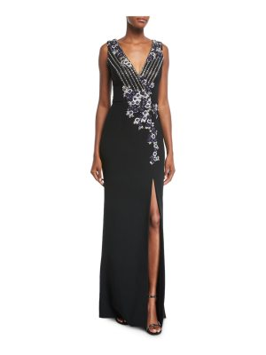 Pamella Roland Deep V Sleeveless Stretch-Crepe Evening Gown with Metallic Sequins