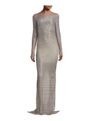Pamella Roland embellished illusion gown