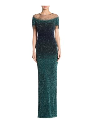 Pamella Roland embellished ombre gown