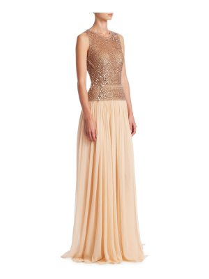 Pamella Roland sequin embellished chiffon gown
