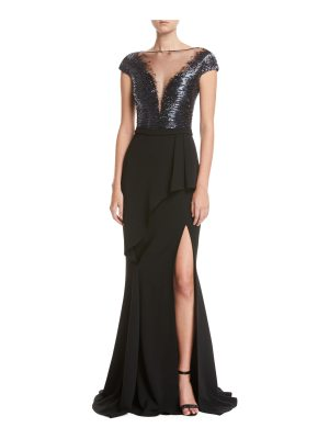 Pamella Roland Short-Sleeve Beaded Combo Gown