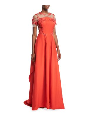 Pamella Roland Silk Faille Evening Gown with Floral-Embroidery