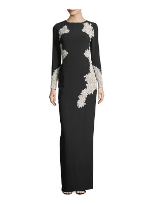 Pamella Roland Stretch-Crepe Long-Sleeve Evening Gown with Lace Cutwork