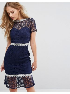 Paper Dolls Midi Lace Dress with Contrast Lace Trim