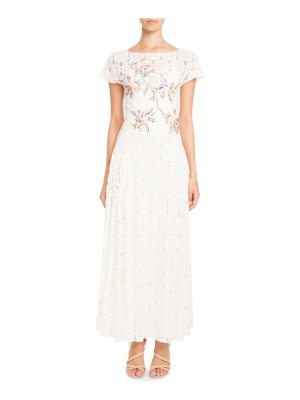 Pascal Millet Tie-Back Short-Sleeve Embroidered Paillette Floral-Lace Dress