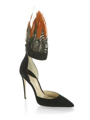Paul Andrew limited-edition pasare pheasant feather & suede d'orsay ankle-strap pumps