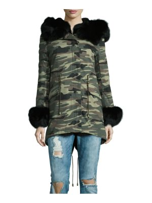 Peri Luxe Rabbit and Fox Fur Trim Camouflage Parka