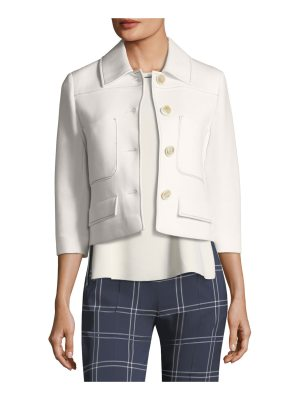 Piazza Sempione Button-Front Scuba-Jersey 3/4-Sleeve Jacket with Piping