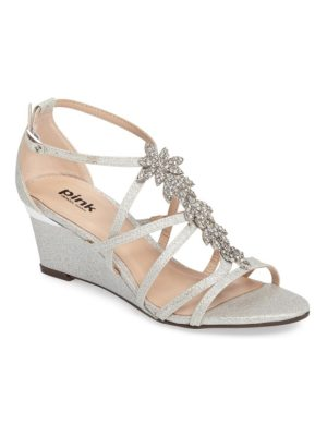 PARADOX LONDON PINK hadley embellished strappy wedge