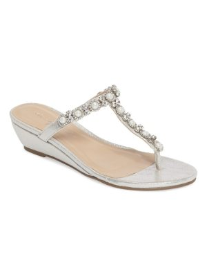 PARADOX LONDON PINK marnie embellished t-strap wedge