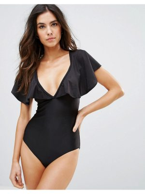 Playful Promises Frill Sleeve Plunge Neck Swimsuit