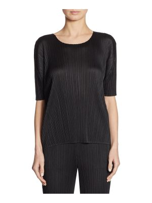 Pleats Please Issey Miyake pleated elbow-sleeve top