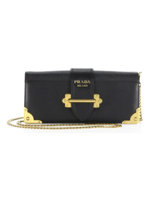 Prada cahier leather chain clutch
