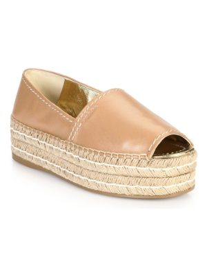 Prada leather peep toe platform espadrilles