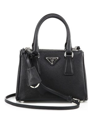 Prada mini saffiano leather double-zip satchel