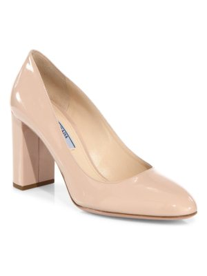 Prada patent leather block heel pumps