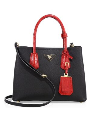 Prada small double saffiano leather & crocodile satchel