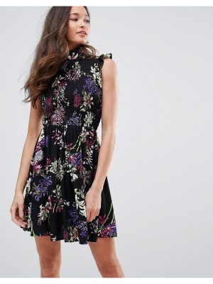 QED London High Neck Floral Skater Dress