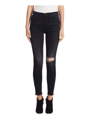 R13 high-rise ripped knee skinny jeans