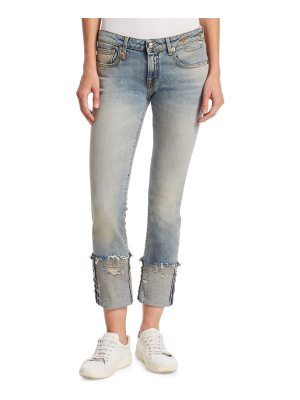 R13 kate skinny frayed cuff jeans