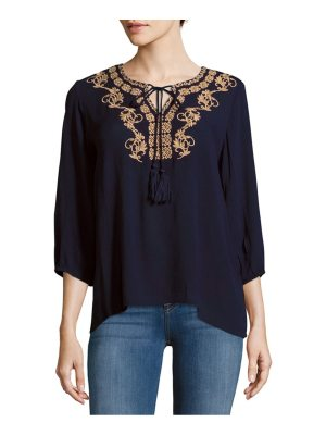 Raga Front-Tie Embroidered Blouse