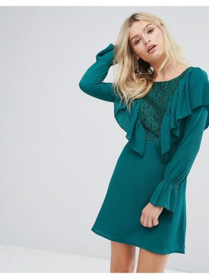 Rage lace insert dress with ruffle