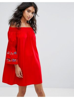 Rage sheared bandeau dress with embroidered sleeve