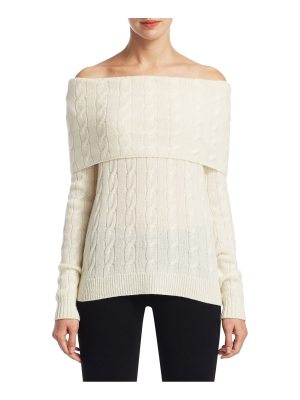 Ralph Lauren Collection cable-knit cashmere off-the-shoulder sweater