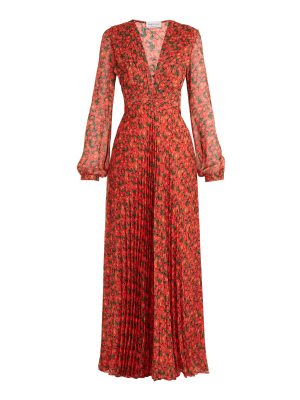 RAQUEL DINIZ Olivia floral-print pleated silk-georgette gown
