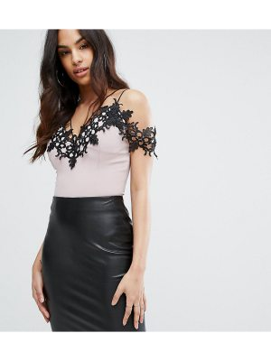 Rare London Off Shoulder Bodysuit With Lace And Strap Detail
