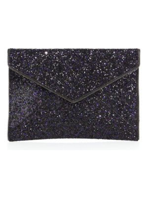 Rebecca Minkoff leo glitter leather envelope clutch