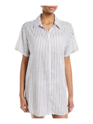 Red Carter Button-Down Striped Coverup Tunic