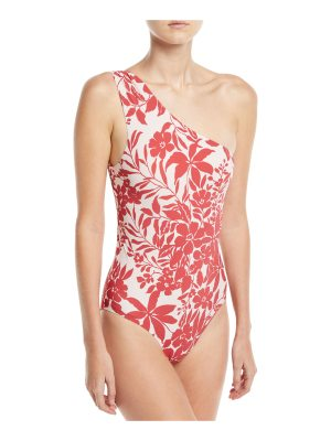 Red Carter Shirred One-Shoulder Floral-Print One-Piece Maillot Swimsuit