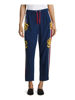Red Valentino surf board cropped silk pants