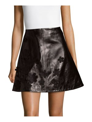 Red Valentino Flared Leather Mini Skirt