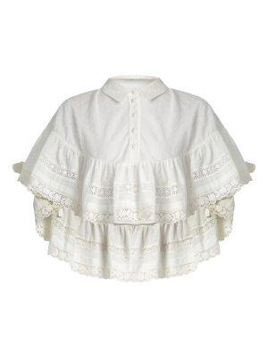 Red Valentino Frill-detail cotton blouse