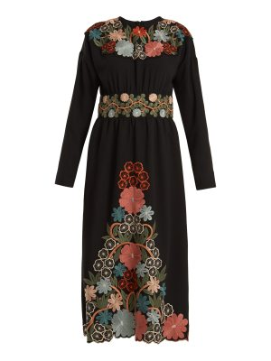 Red Valentino Long-sleeved floral-embroidered crepe-cady dress