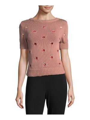 Red Valentino Short Sleeve Cotton Sweater