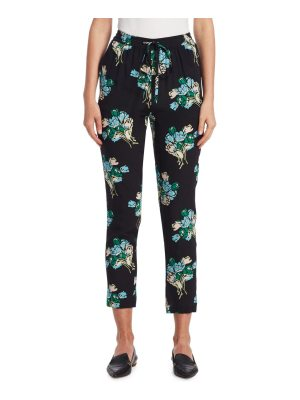 Red Valentino tulip bouquet silk track pants