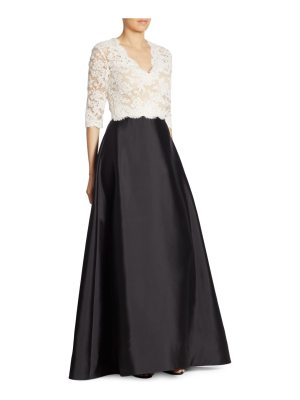 Reem Acra embroidered lace silk-wool gown