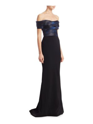 Rene Ruiz jacquard off-the-shoulder gown