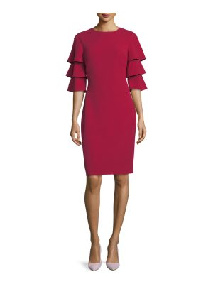 Rickie Freeman for Teri Jon 3-Tier-Sleeve Crepe Sheath Cocktail Dress