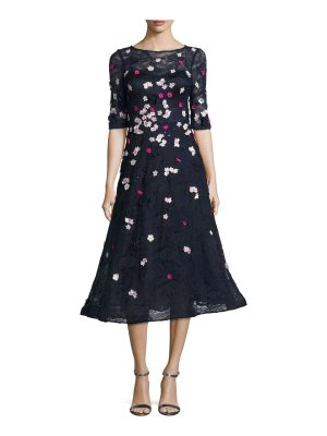 Rickie Freeman for Teri Jon 3D Floral Lace Fit-&-Flare Cocktail Dress